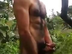 Str8 Spanish jerk in public forest