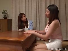 Busty Japanese MILFs turn a tea party into a lesbian fuck party