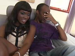 A white guy and a black guy fuck a sexy ebony girl