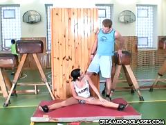 Brunette teen slut in the gym fucked by jocks then covered in gangbang cumshots