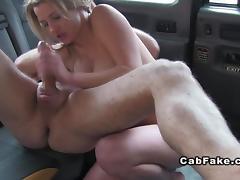 Busty brunette eats ass in fake taxi