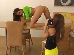 Hot amateur brunette model stripping her clothes off
