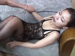 Long haired Asian babe is into BDSM sex