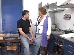 Granny fucked on the kitchen table.