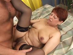 Ugly mature brunette blows and gets her hairy snatch fucked deep
