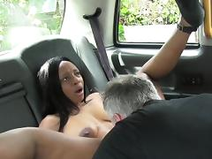 Ebony hottie gets nterracial sex in fake taxi