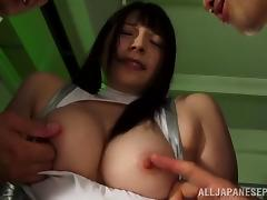 Kinky bound Japanese girl from space is their sex slave
