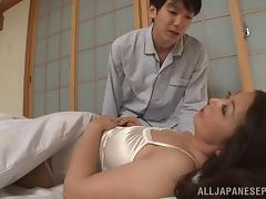 Thick body Japanese milf woken up for good morning sex