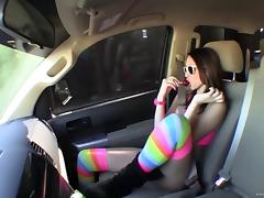 Katie Summers in stockings gets facial cumshot after fucked Hardcore in car