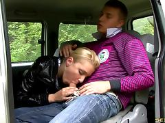 Erotic forest sex session with dazzling blonde beauty queen