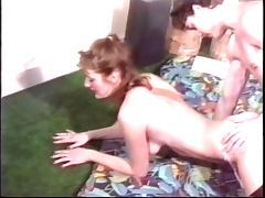 Hanging redhead milf gets her cunt eaten in 70s porn