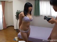 Sex-insane Japanese chick gets cum on her big tits after riding a stiff rod