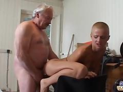 Tattoed short haired student suck old dick