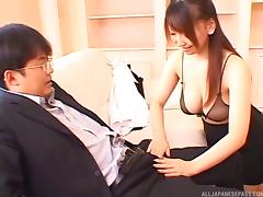 Spoilt Japanese office clerk performes a stunning handjob to a stiff cock