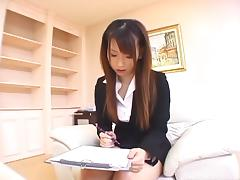 Slutty Japanese sales rep will do anything for a client