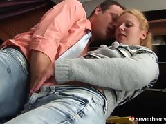 The teacher drops the meat hammer on his hot blonde student