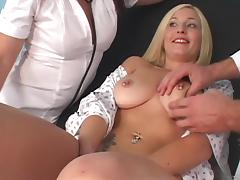 Blonde with navel piercing getting her cunt cock ravaged after BJ