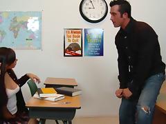Sweet girl in a cardigan fucks her teacher for an A in class