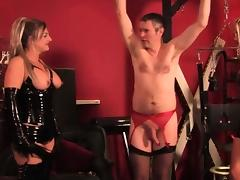Latex flogging action with three brit femdoms