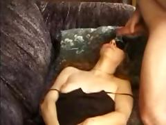 Blindfolded MILF gets a facial