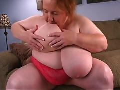 BBW Granny Sucks Her Huge Boobs