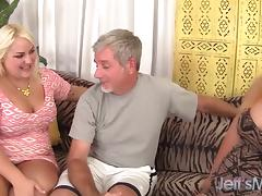 BBW Juicy jasmine & Jade Rose seduce a guy with their plumpn