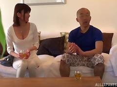 He cannot ignore her cleavage and must fuck the Japanese hottie