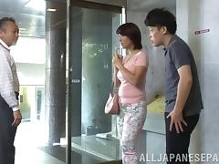 Short haired Asian cheats on her hubby with a hung stud