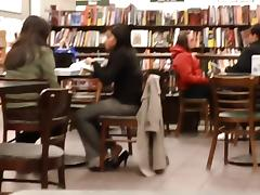 Candid Feet Shoeplay Dipping at Bookstore Cafe