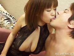 She keeps her black lingerie on for hot Japanese sex