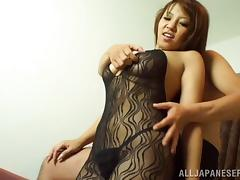 Body stocking girl with sexy curves filled with dildo and dick