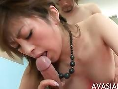 Alluring japanese slut getting dirty with two cocks
