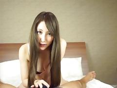 Blowjob from a Japanese cutie in pretty pink satin panties