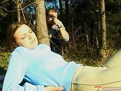 Old guy peeps on a babe in the forest and takes her home for sex