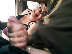 Masturbation and handjob in the car