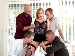Redheaded lingerie girl gangbanged by a group of four guys