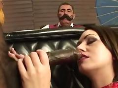 Mil sucks black cock infront of cuckold husband
