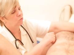 CFNM femdom mature doctor examining a pathetic slave