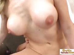 Sexy blonde takes a facial after a hot fuck