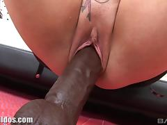 Babe in a leather dress fucks a gigantic black dildo