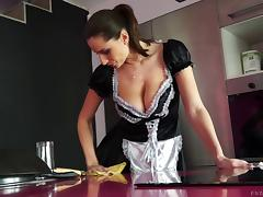 Busty French maid sucks his dick and takes him in her cunt