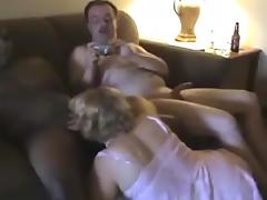 Hubby watches Wife Sucking Black Cock.