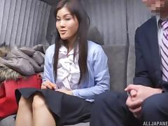 Doting Asian broad squirms as a raging boner penetrates her wet pussy