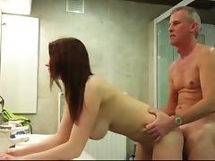 Natural big breasted youngster seduces her much older lover