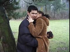 Bending a slut over and fucking her pussy in a public park