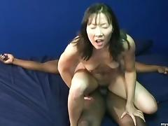 Small tit Asian bitch enjoying her first pulsating black cock