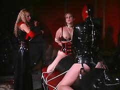 Big white woman gets her nipples clamped