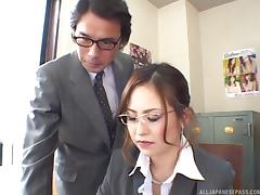 During lunch at the office two girls get gangbanged