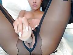 Homemade webcam clip of me using a big sex toy