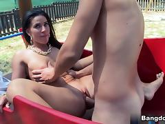 Athina in Natural Tit Brunette Fucked In Public Video
